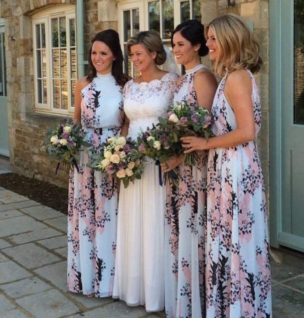 Lace boho style wedding dress with a soft floaty skirt.