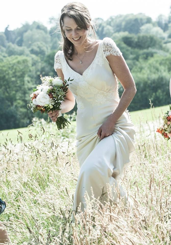 Bias cut wedding dress boho stlye