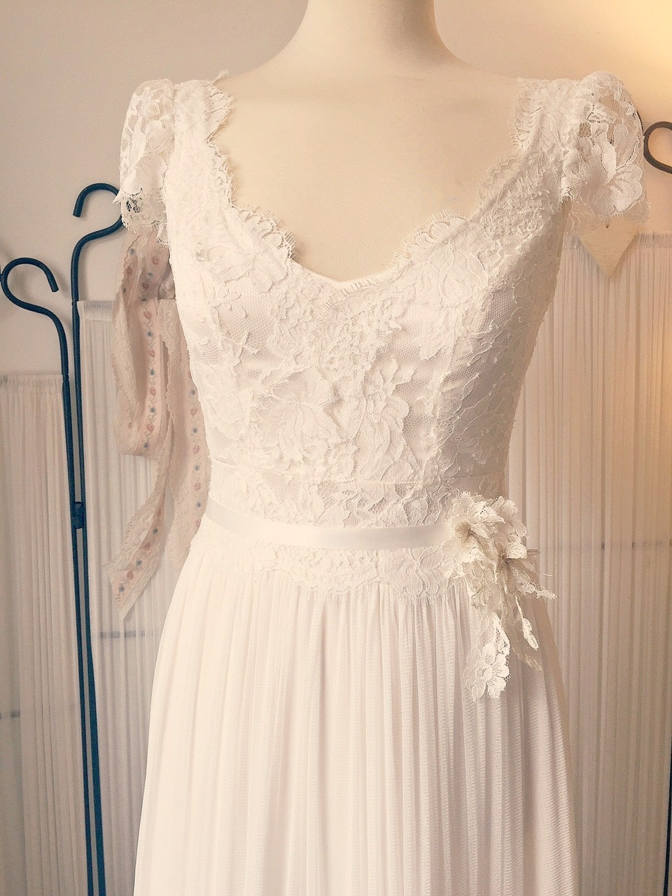 Boho style French Lace and silk wedding dress