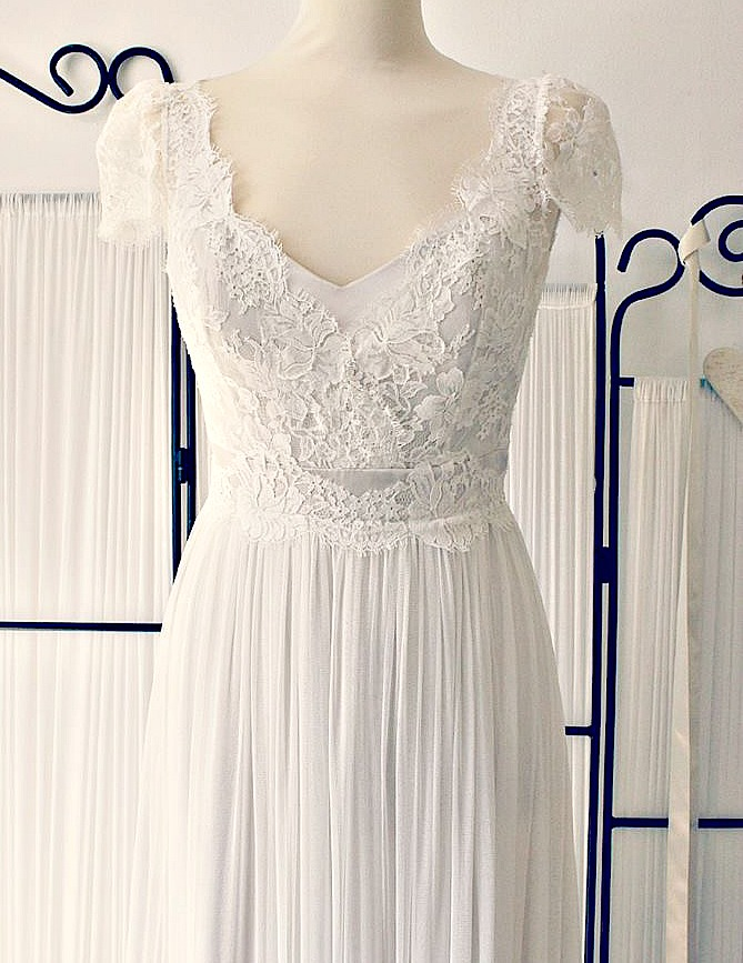 Boho style wedding dress. Whimsical Ethereal and  floaty.
