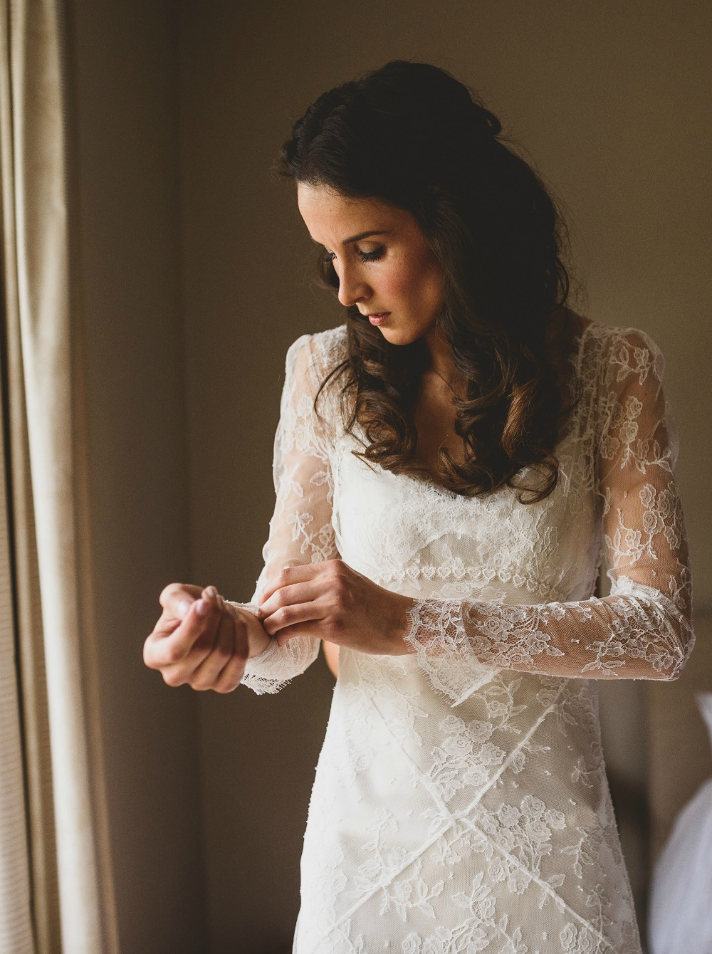 Myrtle French lace boho, vintage style, overlay wedding dress. Worn with a silk crepe bias cut under dress