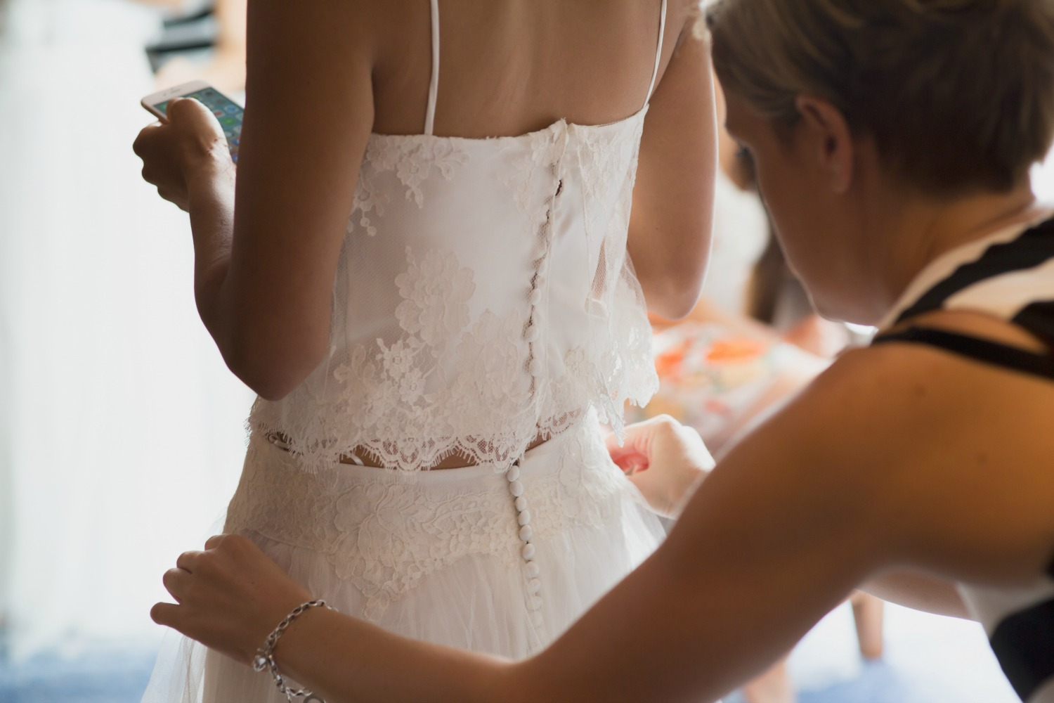 Hand finished lace detail on this ethereal style two piece